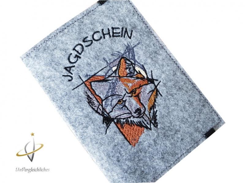 Kleinesbild - Jagdscheinhülle Filz Waidmannsheil Jäger Geschenk Hülle Jagdschein Hirsch Jagd Waffenbesitzkarte Geweih Jägerin Jagdschein-Hülle Fuchs WBK
