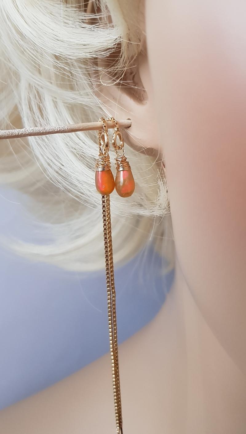 Kleinesbild - ☆Opal- Ohrringe mit Opal und Goldfill☆ Geschenk für Sie, Durchzieher 925 Hänger, Edelsteine, vergoldet, gelb,  welo Tropfen, äthiopischer