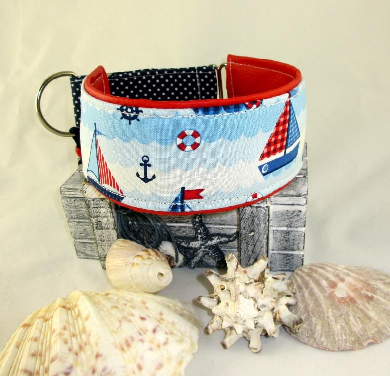 Kleinesbild - Windhundhalsband Sail away Hundehalsband Halsband Windhund Galgo Podenco Saluki Whippet Zugstopp maritim gepolstert Polsterung aus Kunstleder