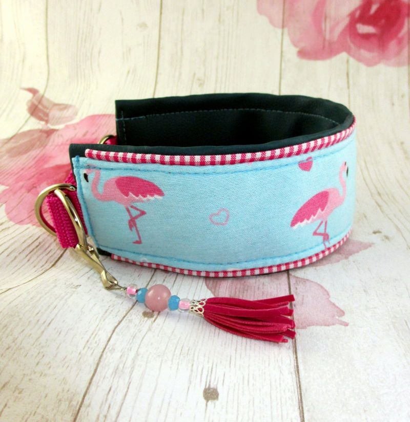 Kleinesbild - Windhundhalsband  Pretty Flamingo Windhund Collar Hundehalsband Halsband wahlweise Zugstopp Verschluss oder Klickverschluss Metall oder Kunststoff gepolstert mit Kunstleder