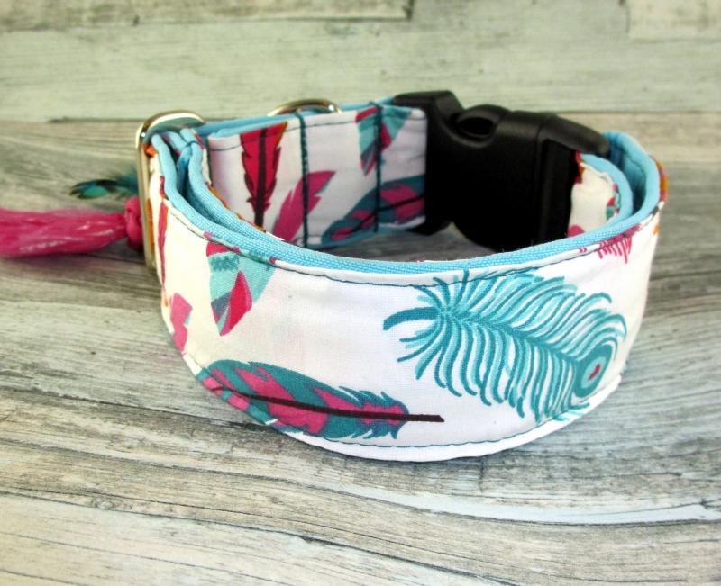 Kleinesbild - Hundehalsband  Pocahontas Halsband Hund mit Klickverschluss verstellbar Kunststoffverschluss oder Metallverschluss breit wahlweise Zugstopp Verschluss