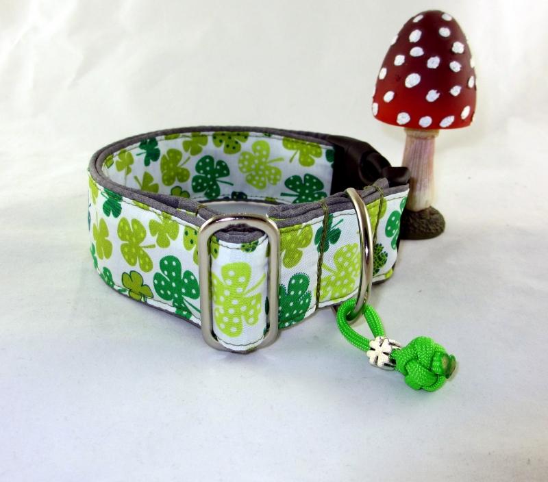 Kleinesbild - Hundehalsband Glücksklee Halsband Hund Nylon Klickverschluss Kunststoffverschluss oder Metallverschluss wahlweise Zugstopp verstellbar breit Palunduglück&liebe