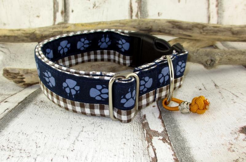 Kleinesbild - Hundehalsband Paws blau/braun Halsband Nylonhalsband Hund verstellbar Zugstopp oder Klickverschluss Kunststoff oder Metall Verschluss