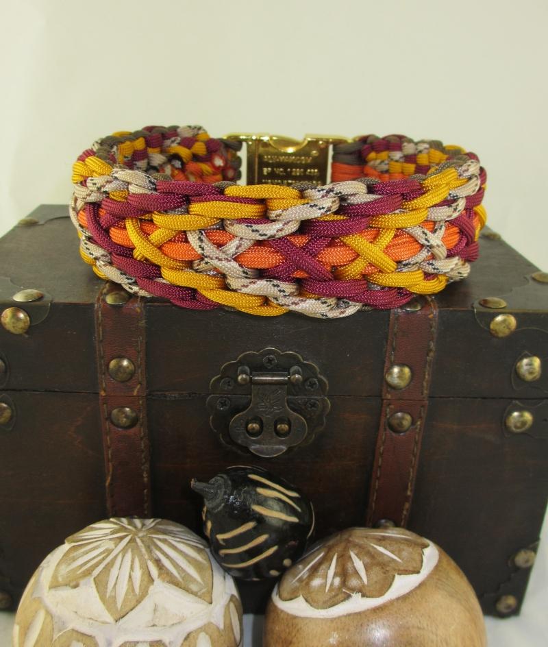 Kleinesbild - Hundehalsband Indian Summer Halsband Hund geflochten Flechthalsband Paracord breit wahlweise mit Klickverschluss Metall oder Kunststoff oder Zugstopp Verschluss