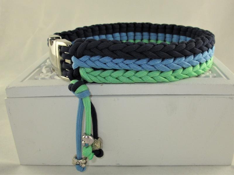 Kleinesbild - Hundehalsband Aquamarin Halsband aus Paracord geflochten Flechthalsband mit Klickverschluss  Kunststoff oder Metall wahlweise Zugstopp