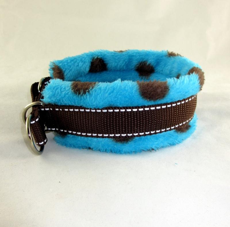 Kleinesbild - Hundehalsband Auf den Punkt Halsband wärmend reflektierend gepolstert mit weicher Fleece Polsterung wahlweise Zugstopp Verschluss oder Klickverschluss Kunststoff oder Metall
