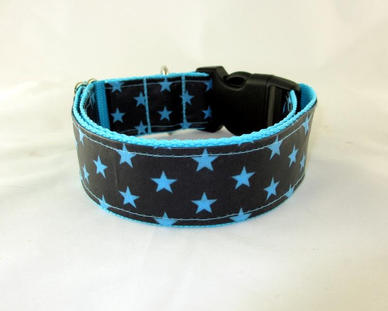 Kleinesbild - Hundehalsband Blue Star Halsband Hund abwischbar abwaschbar mit Klickverschluss Metall oder Kunststoff Verschluss wahlweise Zugstopp verstellbar