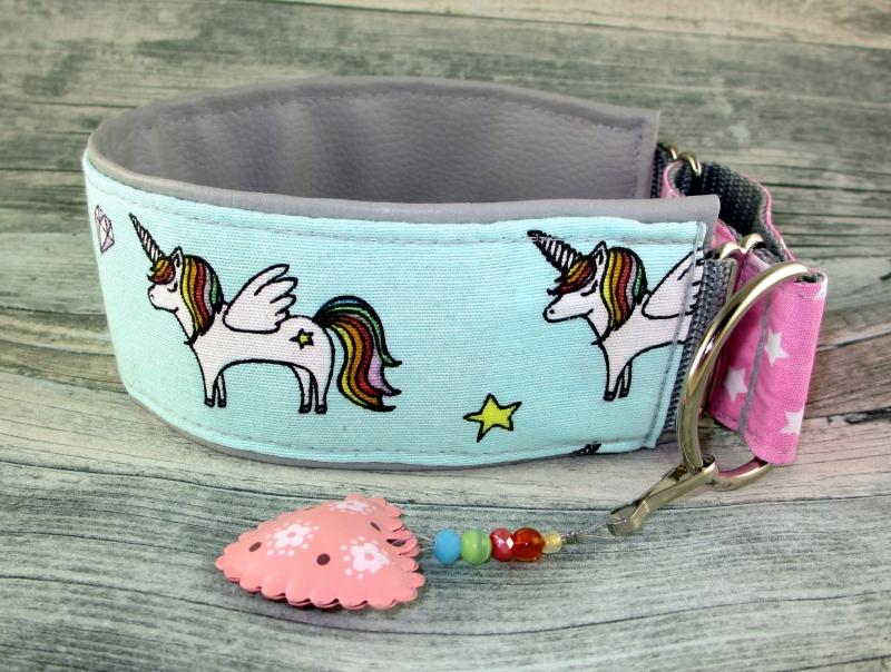 Kleinesbild - Windhundhalsband Little Rainbow Pony Hundehalsband Halsband Windhund Podenco Galgo Zugstopp Verschluss gepolstert mit einer hochwertigen Kunstleder Polsterung Breite 6 cm