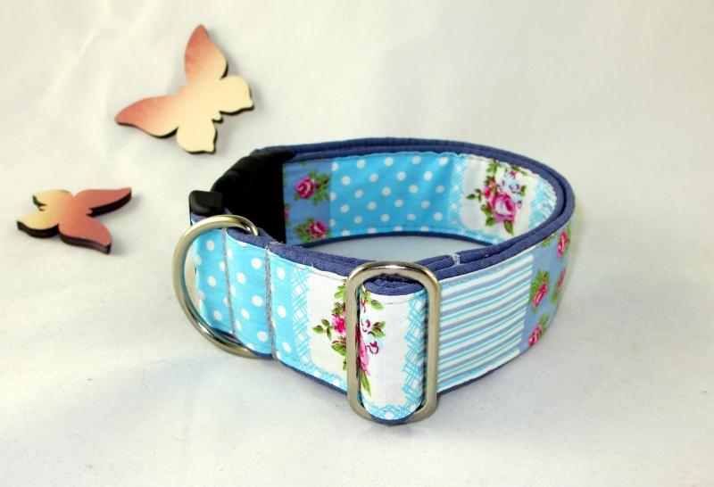 Kleinesbild - Hundehalsband Vintage Rose Halsband Hund Nylon Klickverschluss Kunststoffverschluss oder Metallverschluss wahlweise Zugstopp verstellbar breit