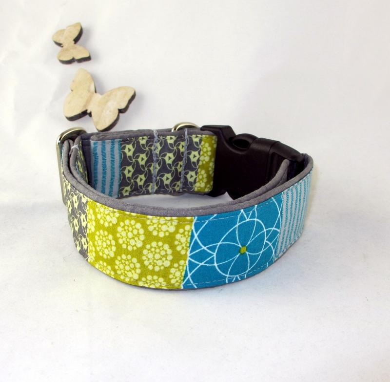 Kleinesbild - Hundehalsband Geometric Halsband Hund Nylon Klickverschluss Kunststoffverschluss oder Metallverschluss wahlweise Zugstopp verstellbar breit