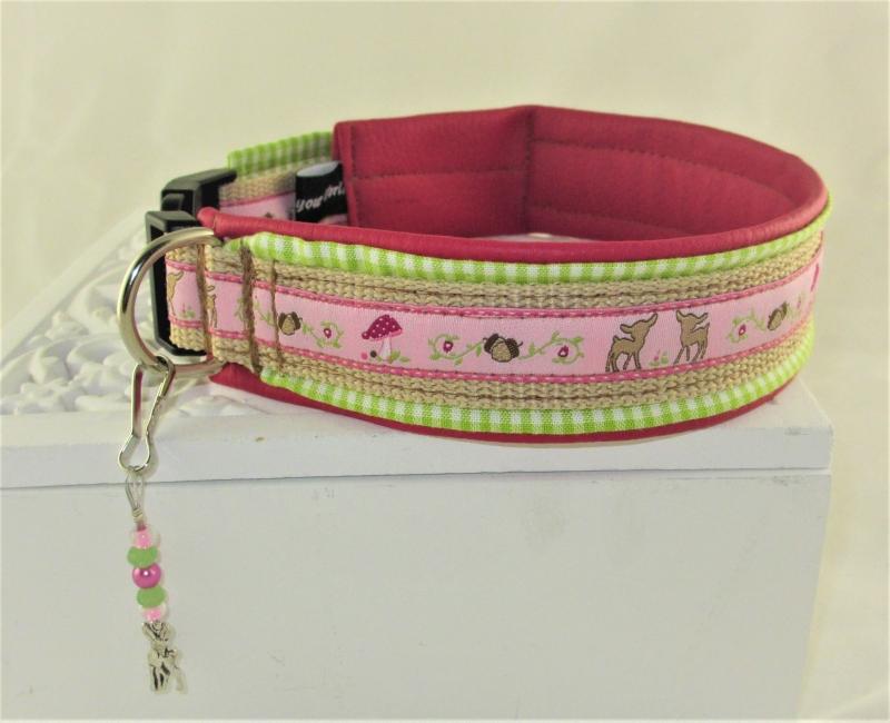Kleinesbild - Hundehalsband Fairytale pink/grün Halsband mit Klickverschluss Kunststoffverschluss oder Metallverschluss wahlweise mit Zugstopp und gepolstert Kunstleder