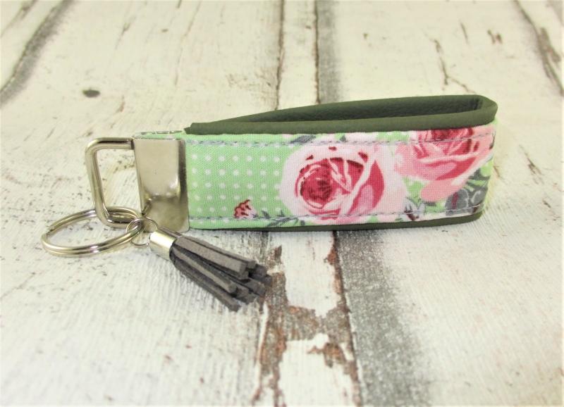 Kleinesbild - Schlüsselanhänger Rosengarten Anhänger für Schlüssel Nylonband Schlüsselband mit Schlüsselring unterlegt mit Kunstleder für Männer oder Frauen