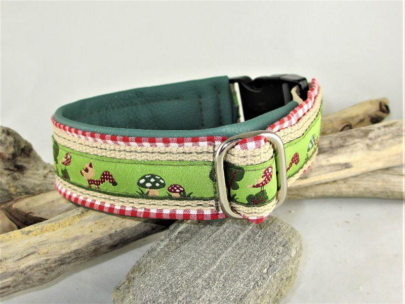 Kleinesbild - Hundehalsband Glücksfux Halsband verstellbar mit Klickverschluss Kunststoffverschluss oder Metallverschluss wahlweise mit Zugstopp und gepolstert Kunstleder