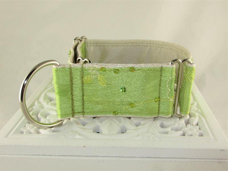 Kleinesbild - Hundehalsband Elegance grün Windhundhalsband Martingale Halsband  breites Zugstopphalsband mit Verstellbarkeit