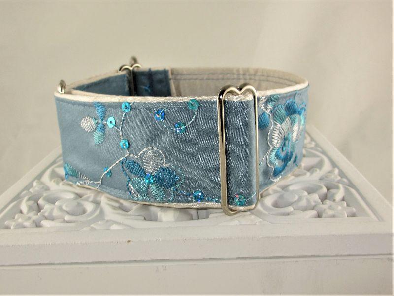 Kleinesbild - Hundehalsband Elegance blau Windhundhalsband Martingale Halsband breites Zugstopphalsband mit Verstellbarkeit