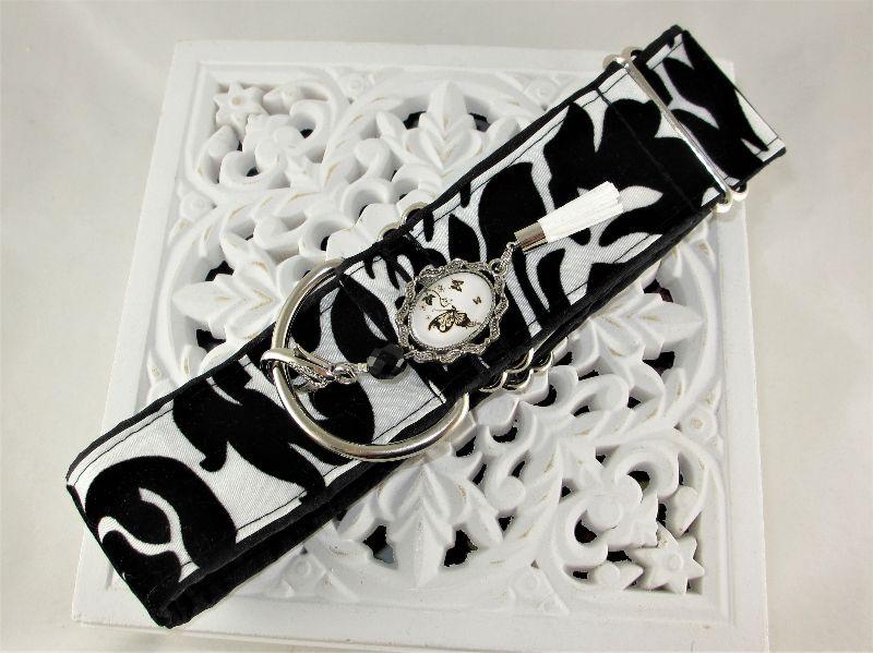 Kleinesbild - Hundehalsband Barock Halsband Martingale verstellbar mit Zugstopp Zugstopphalsband wahlweise Klickverschluss Kunststoff oder Metall