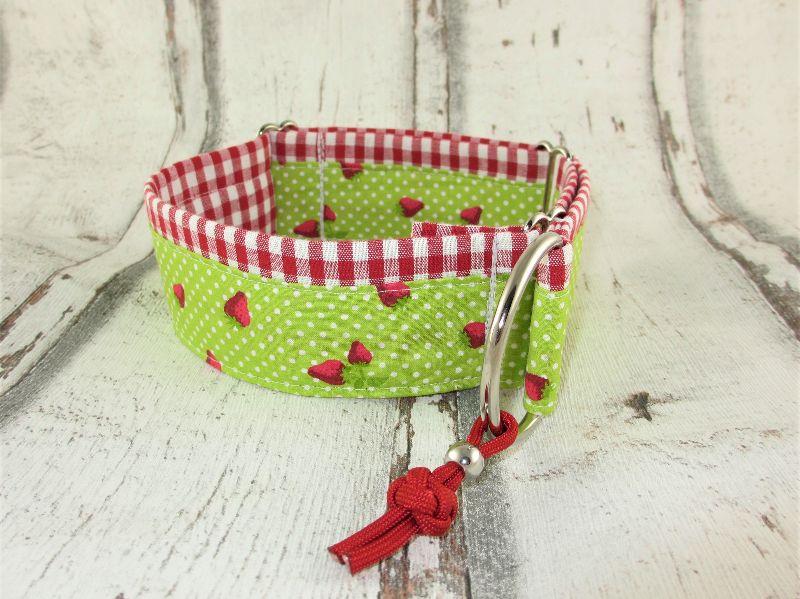 Kleinesbild - Hundehalsband Freches Früchtchen Halsband Martingale verstellbar mit Zugstopp Zugstopphalsband wahlweise Klickverschluss Kunststoff oder Metall