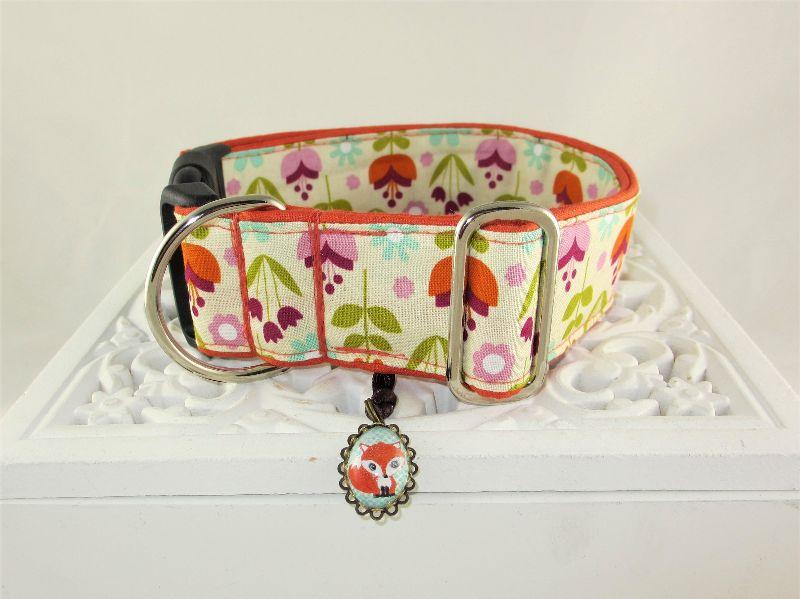 Kleinesbild - Hundehalsband Blomster Halsband Hund Nylon Klickverschluss Kunststoffverschluss oder Metallverschluss wahlweise Zugstopp verstellbar breit