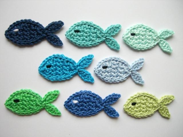 - Häkelapplikation, Fische mittelgroß   - Häkelapplikation, Fische mittelgroß