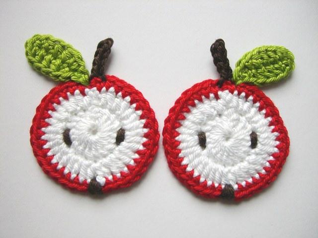 - Häkelapplikation, Äpfel, Obst - Häkelapplikation, Äpfel, Obst