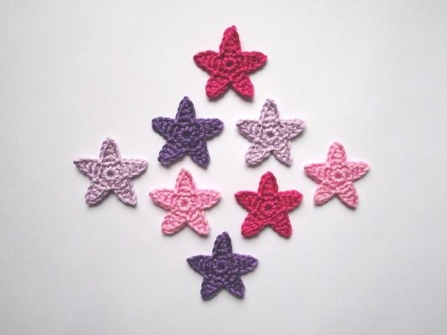 - Häkelapplikation, kleine Sterne    - Häkelapplikation, kleine Sterne