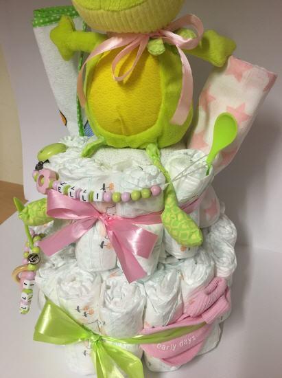 Kleinesbild - Windeltorte Frosch rosa  personalisiert