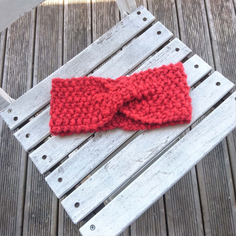 Kleinesbild - handgestricktes Stirnband in rot Größe M-XL