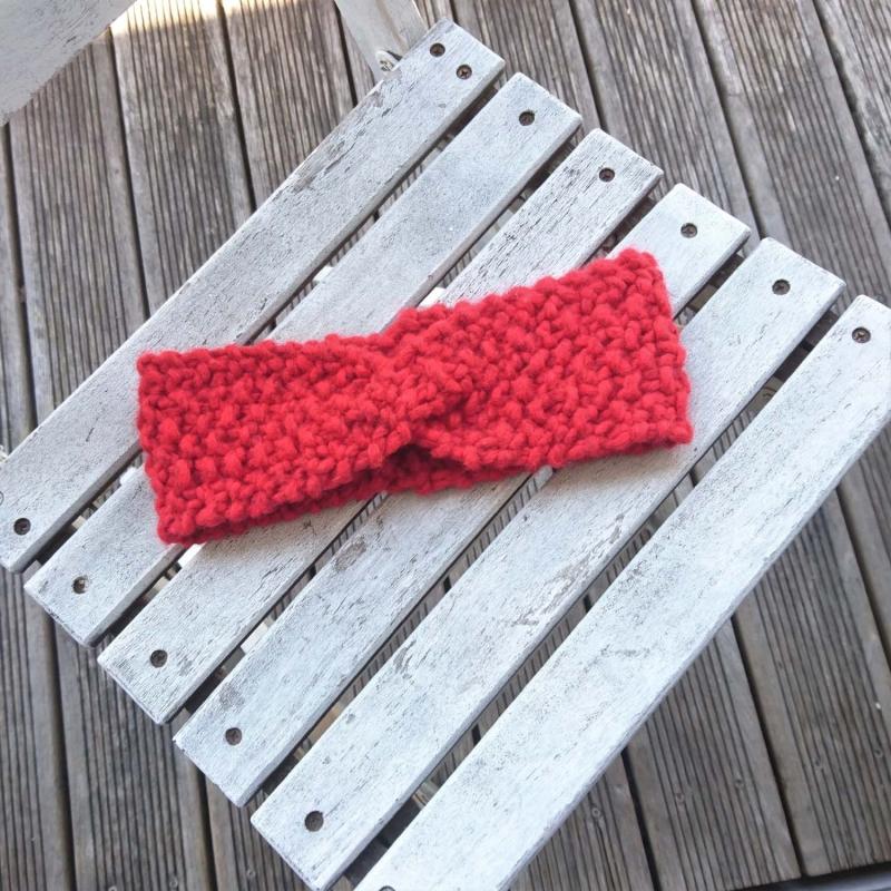- handgestricktes Stirnband in rot Größe S für Kinder und Erwachsene - handgestricktes Stirnband in rot Größe S für Kinder und Erwachsene