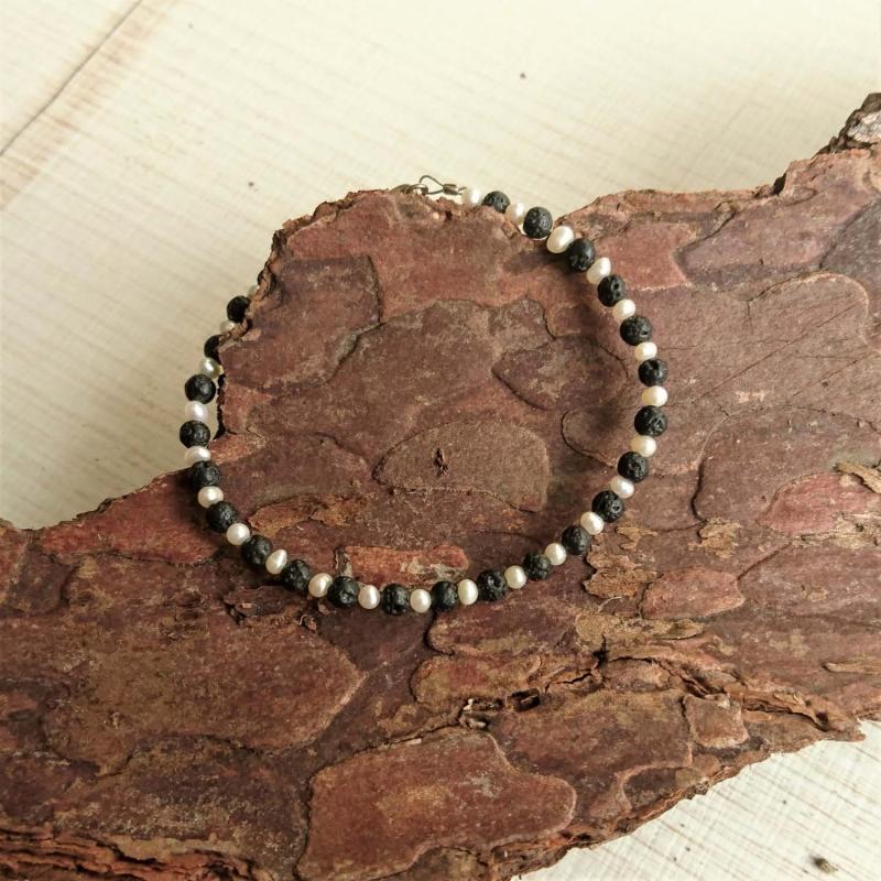 Kleinesbild -  Armband * Armkettchen * Perlenarmband * Perlen * Lava * Perlmutt * schwarz * Ying und Yang