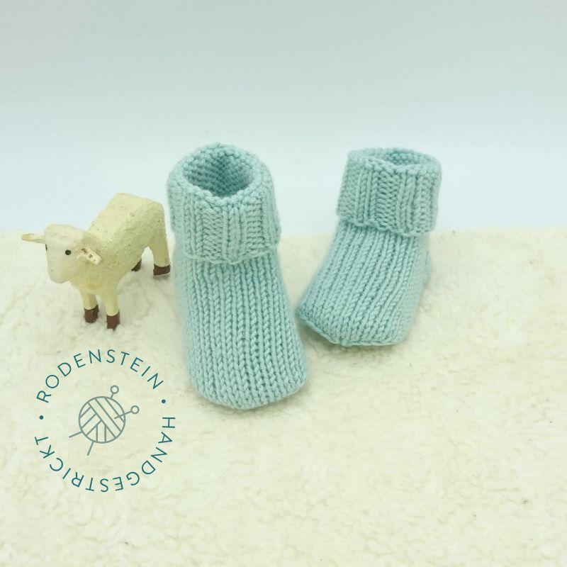 Kleinesbild - kuschelweiche Babysocken * Ringelsocken * Wollsocken * in pastelligem türkis für 0 bis 12 Monate