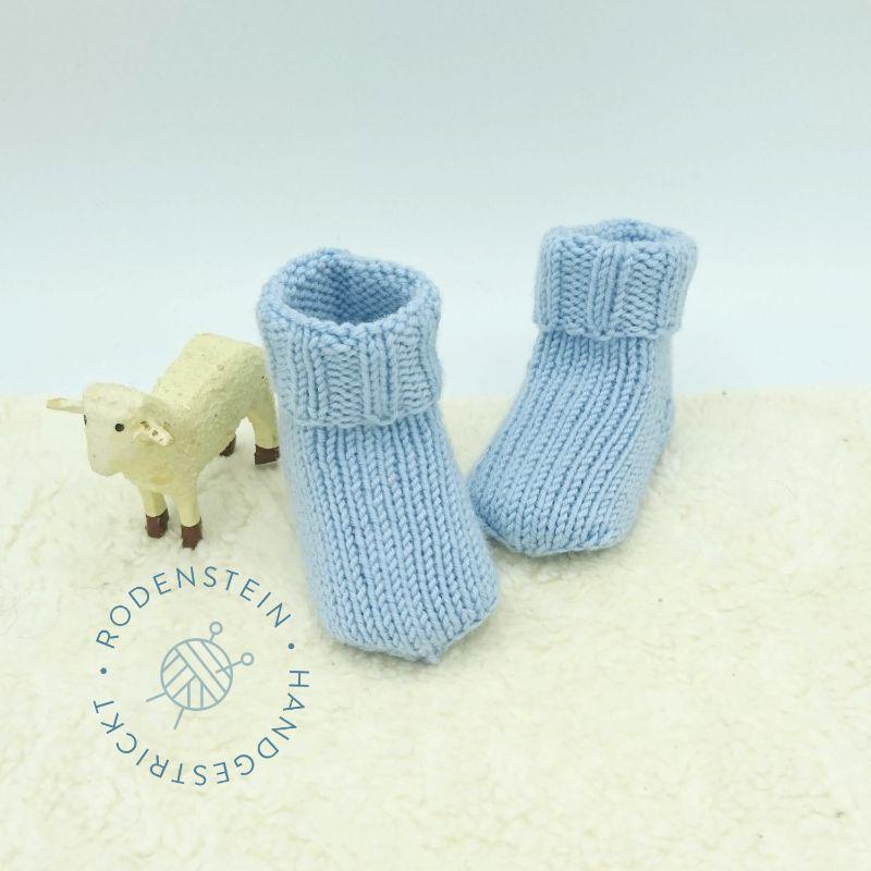 Kleinesbild - kuschelweiche Babysocken * Ringelsocken * Wollsocken * in zartem hellblau für 0 bis 12 Monate