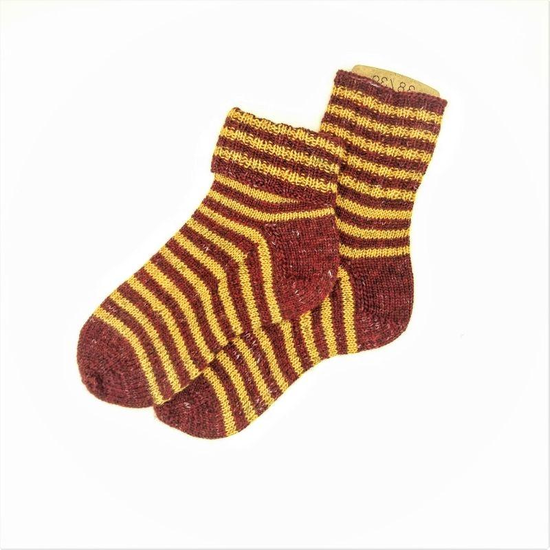 Kleinesbild - Socken * Stricksocken * Ringelsocken * GOTS * Wolle * Leinen in bordeux/bernstein