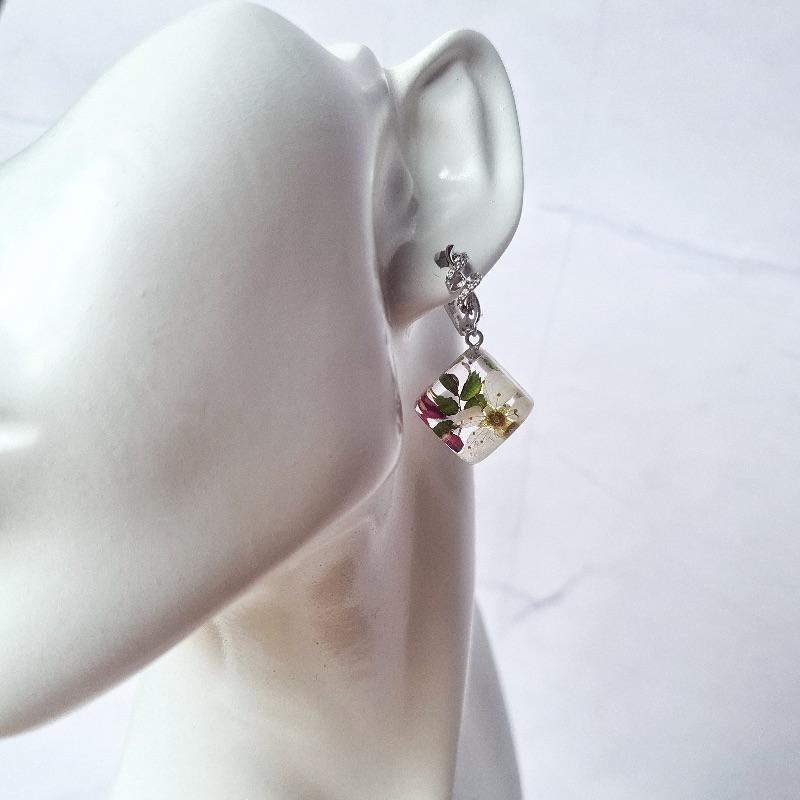 Kleinesbild - Botanische Ohrringe und Anhänger mit echten Kirschblüten