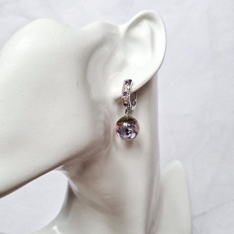 Kleinesbild - Schöne Ohrringe mit Flieder und Ozothamnus