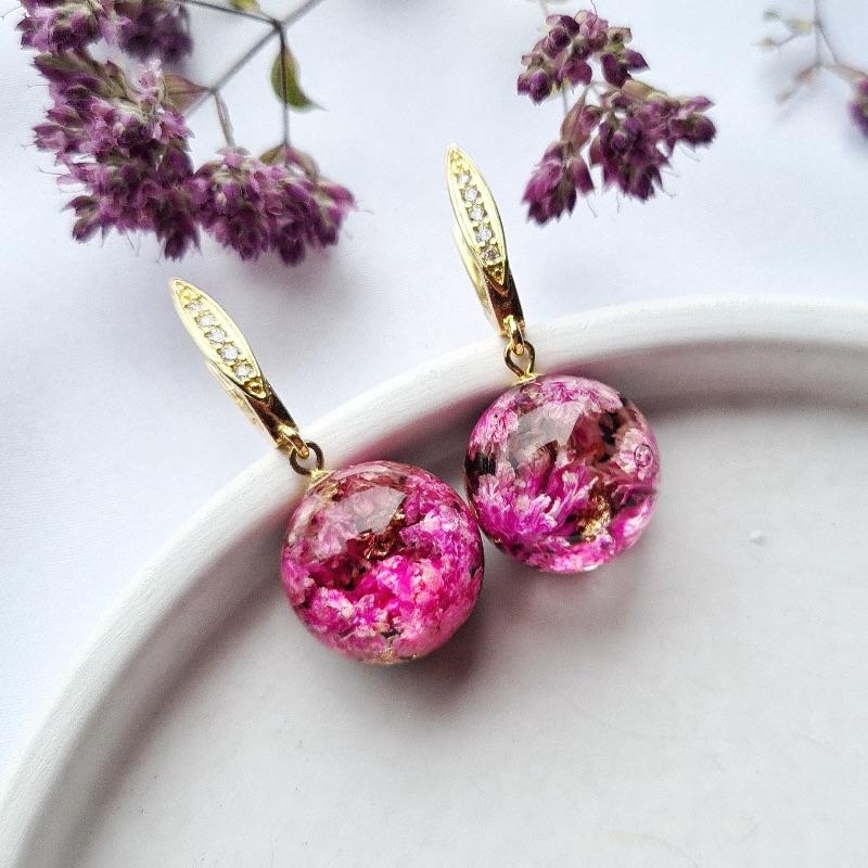 - Ohrringe mit rosa Schleierkraut - Ohrringe mit rosa Schleierkraut