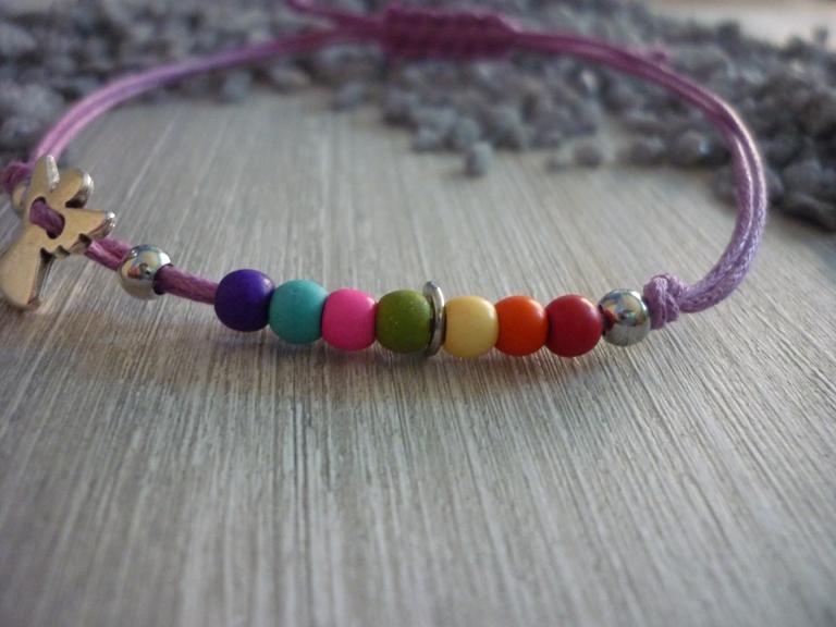 Kleinesbild - Armband zur Kommunion,Konfirmation...mit Schutzengel und bunten Perlen