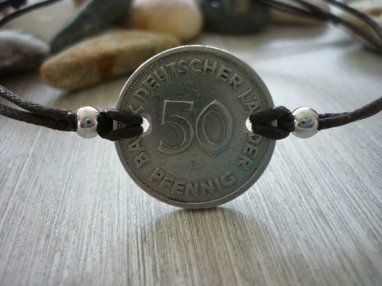 - Handgemachtes Armband mit eine alten 50-Pfennig- Stück als Zwischenteil  50. Geburtstag Jubiäum Vintage - Handgemachtes Armband mit eine alten 50-Pfennig- Stück als Zwischenteil  50. Geburtstag Jubiäum Vintage