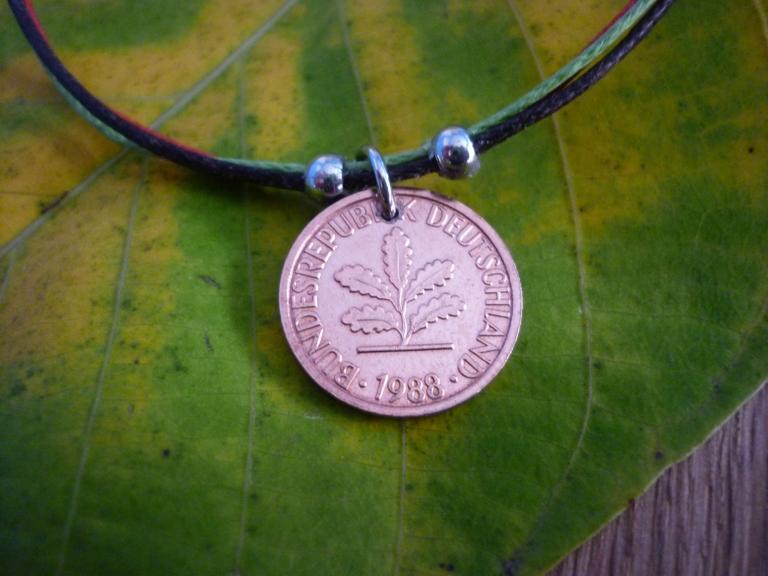 Kleinesbild - Armband  mit einem Pfennig als Glücksbringer Vintage Glückspfennig