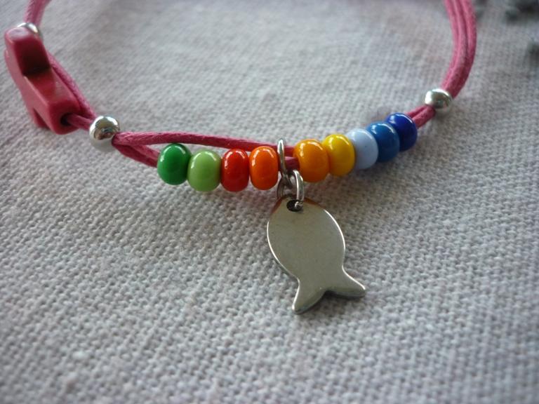 Kleinesbild - Handgemachtes farbenfrohes Armband zur Kommunion / Konfirmation / Firmung