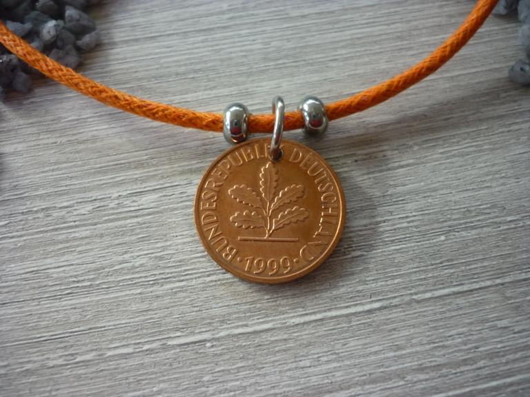 Kleinesbild - Armband  Geburtstag Pfennig Vintage 1999 Glückspfennig Jubiläum handgemacht