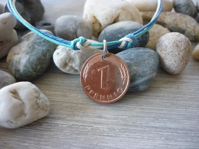 - Handgemachtes Armband mit einem Glückspfennig / Glücksbringer /  Vintage  - Handgemachtes Armband mit einem Glückspfennig / Glücksbringer /  Vintage