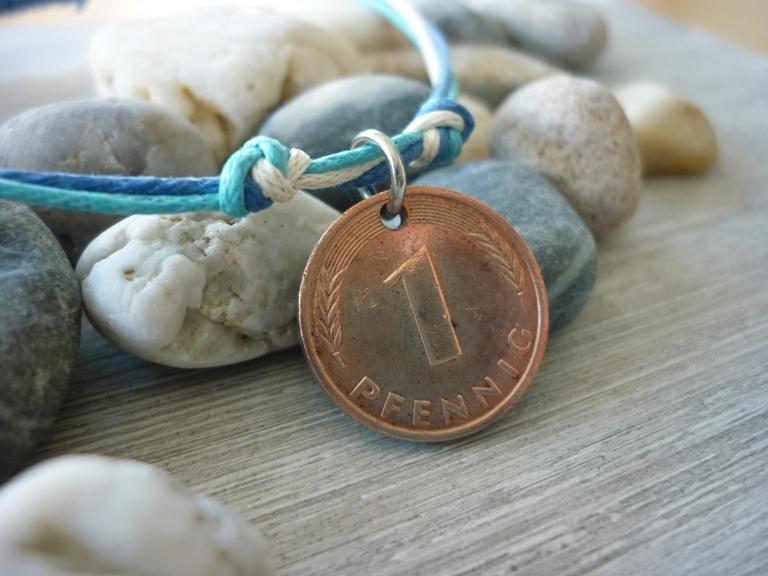 Kleinesbild - Handgemachtes Armband mit einem Glückspfennig / Glücksbringer /  Vintage