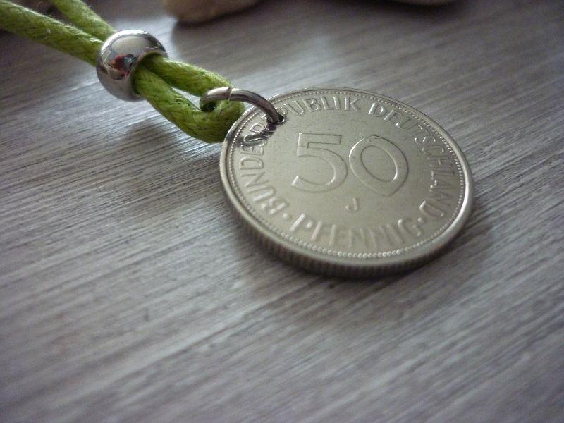 Kleinesbild - Handgemachte Kette zum 50. Geburtstag Jubiläum  Vintage 1971 50-Pfennig-Stück Anhänger