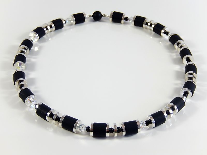 - Schwarz silberfarbene Polariskette Halskette Damenhalsschmuck Geburtstagsgeschenk - Schwarz silberfarbene Polariskette Halskette Damenhalsschmuck Geburtstagsgeschenk