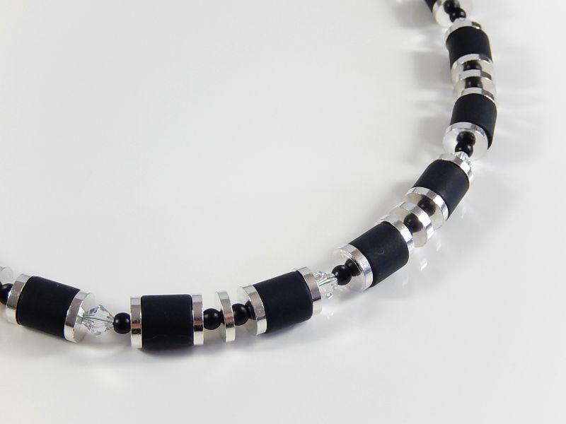 Kleinesbild - Schwarz silberfarbene Polariskette Halskette Damenhalsschmuck Geburtstagsgeschenk