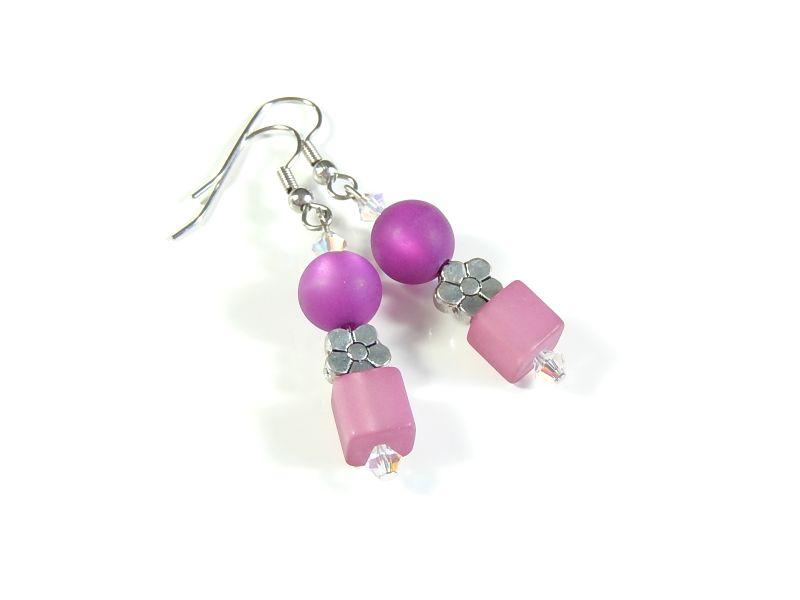 Kleinesbild - Verspielte rosa pinke Ohrhänger Ohrschmuck Ohrringe kleines Geschenk