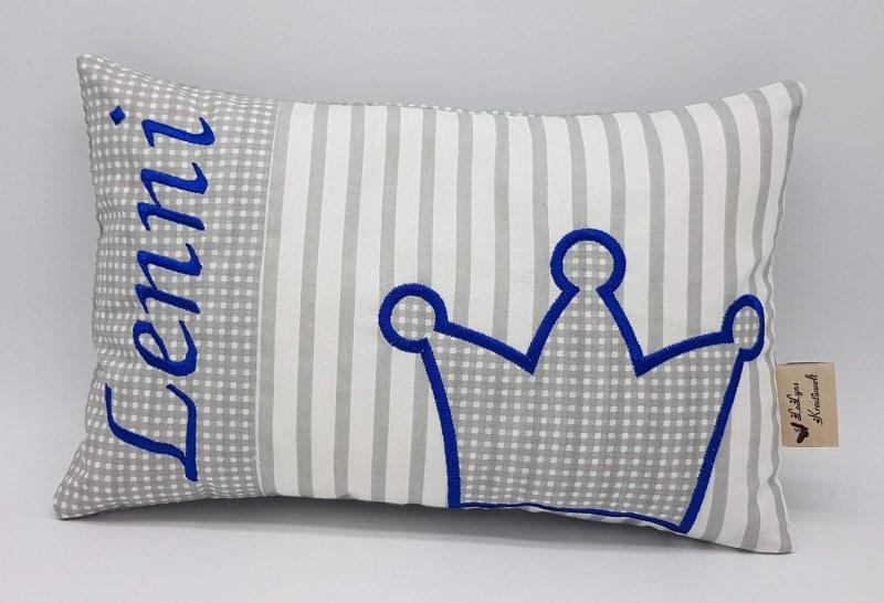 Kleinesbild - Kissen ♥Wunschnamen♥Krone♥blau♥Geburt♥Taufe♥ 20cmx30cm