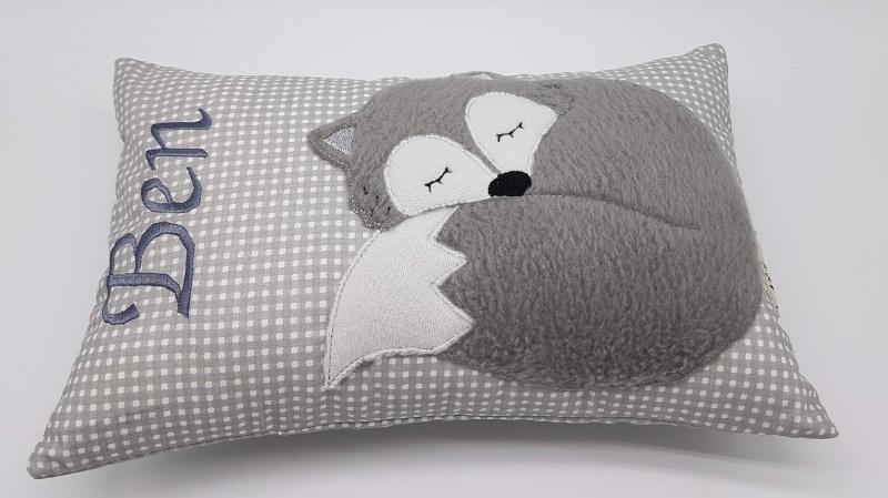 Kleinesbild - Kissen ♥Wunschnamen♥schlafender Fuchs♥grau♥Geburt♥Taufe♥ 20cmx30cm
