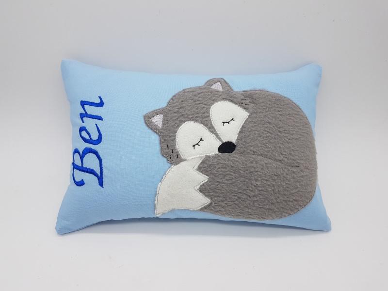 Kleinesbild - Kissen ♥Wunschnamen♥schlafender Fuchs♥blau♥Geburt♥Taufe♥ 20cmx30cm
