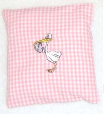 Kleinesbild - Kirschkernkissen Storch ideales Geschenk zur Geburt